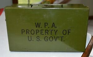 Vintage-Works-Progress-Administration-WPA-Metal-Box-Very-Clean-8-034-by-4-3-4-034