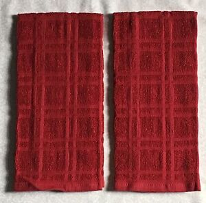 2 Solid Red Plaid Windowpane Terry Cloth Kitchen Towels 16 X 26