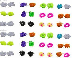 Pack-Of-2-Ladies-Girl-Chiffon-Fluffy-Neon-Hair-Scrunchies-Bobble-Hair-decor