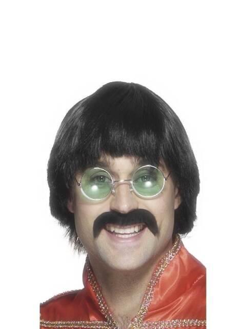 Short Black Straight Wig, Seventies Mersey wig and Tash. Fancy Dress