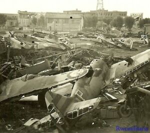 Port-Photo-RARE-German-View-of-Graveyard-for-Wrecked-French-Fighter-Planes