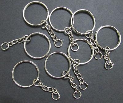 Keyring Blanks Key Chains Silver Tone Findings Split Rings 4 Link 5//10//20//25//100