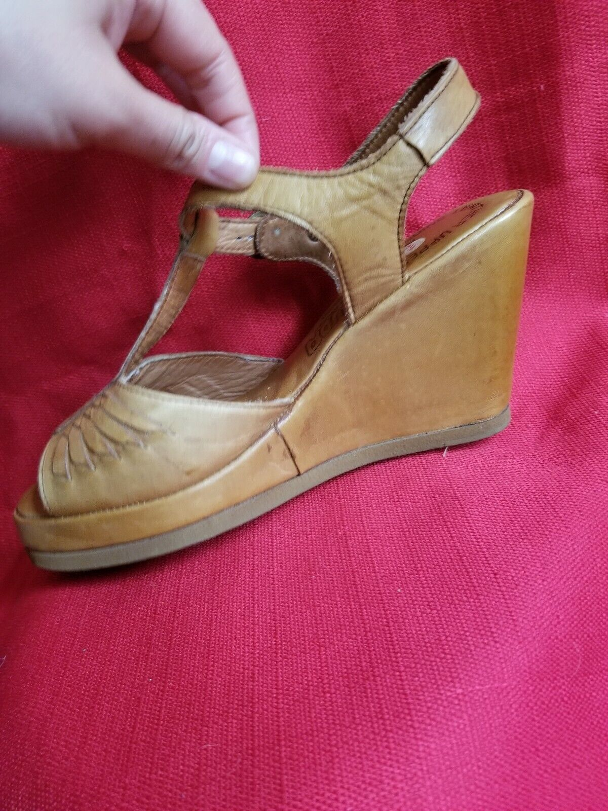 Vtg 1970s does 40s Leather Wedge Sandals Size 7.5… - image 7