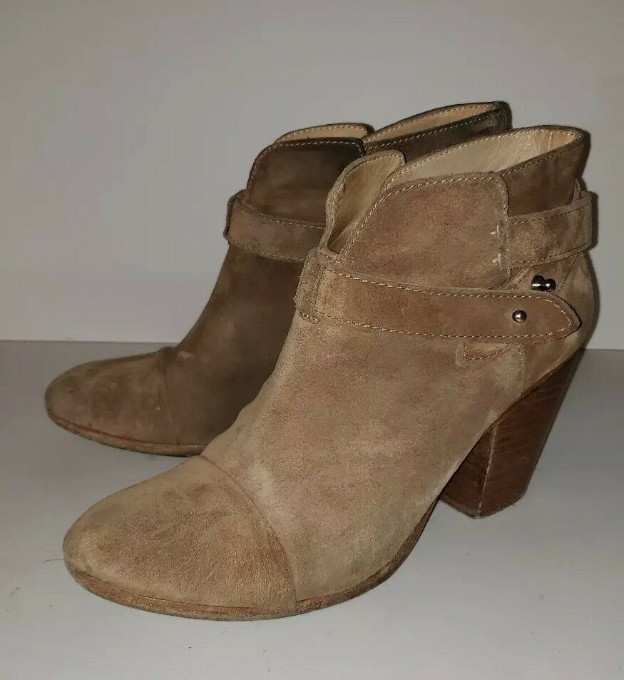 RAG AND BONE khaki Tan Suede Strappy Chunky Heel Pullon Ankle Boots 39.5 9.5