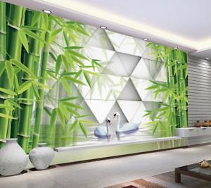 3D Green Bamboo Leaves 83 Wallpaper Mural Paper Wall Print Wallpaper Murals UK