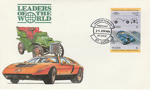 St Lucia 4980 - 1984 CARS - BUGATTI 5c IMPERF PAIR on FIRST DAY COVER
