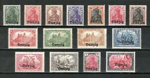 DR-Nazi-Germany-Reich-Rare-WW1-Stamp-1920-Danzig-Germania-Overprint-Classic-Set