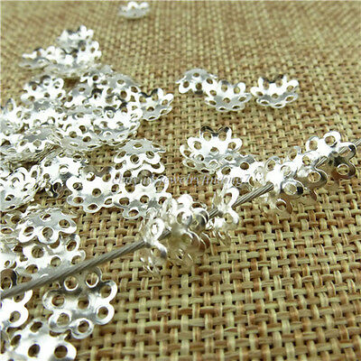 13689 1000PCS Alloy Antique Silver Tone Flower Spacer Beads Cap End 8mm Cap