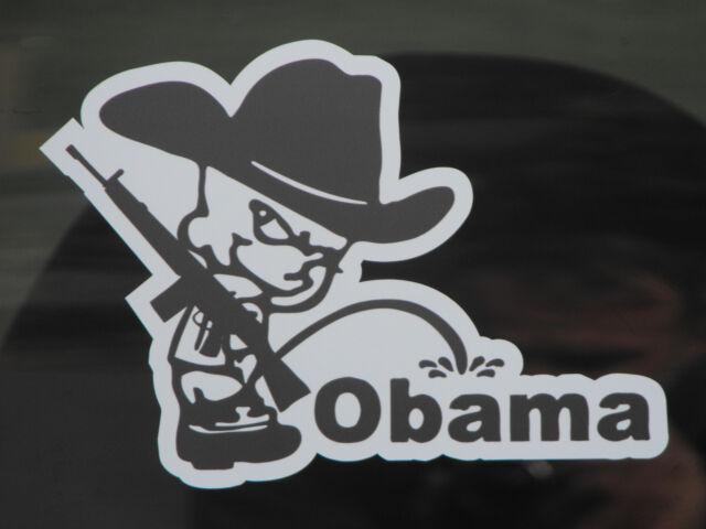 Pro Gun Piss On Obama Window Decal AR15 Cowboy Calvin Scope ACOG Holographic 45