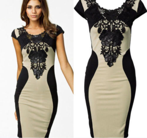 Ladies Celeb Style Floral Lace Contrast Cocktail Party Evening Bodycon Dress 14
