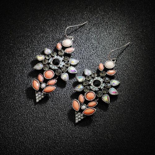 Boucles d/'Oreilles Fleur Orange Fin Retro Ancien Style Class Soirée Cadeau BB 5