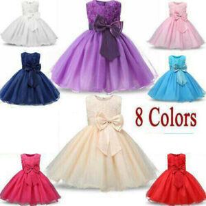 Kids Girls Princess Dress Flower Rose Bow Pageant Wedding Bridesmaid Dresses