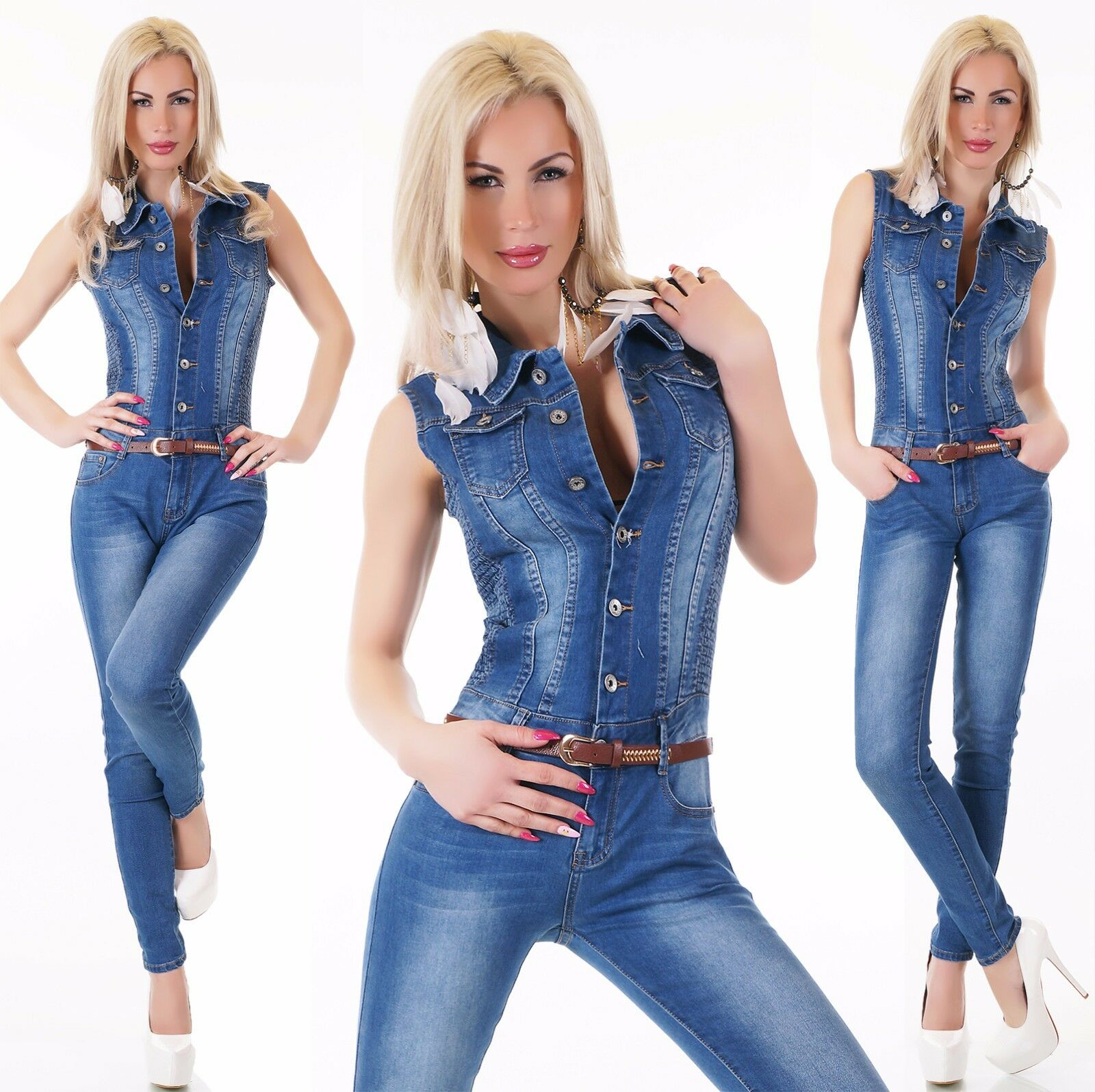 Sexy Lavado Denim blue Mono con belt.