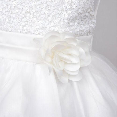 New Flower Girls Christening Formal Dress Gown Sequins Bow First Communion 0-10Y