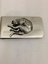 Stretching Cat R202 English Pewter Emblem on a Stunning Money Clip