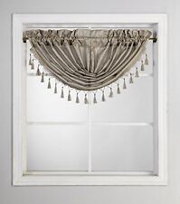 """Lux 1 piece Solid Taupe Valance Faux Silk Rod Pocket With Tassels - 48""""X 38Inch"""