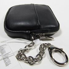 NEIMAN MARCUS WOMEN'S COIN PURSE/WALLET ATTATCHED CHAIN w/LOBSTER HOOK BLACK NWT