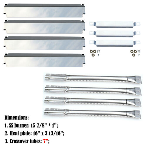 CrossoverTubes,SS Heat Plates Replacement Charbroil 463268107 Gas Grill Burners
