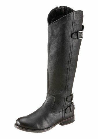 BUGATTI Stiefel J59341G Damen Gr. 38 Langschaft Leder blau schwarz NEU