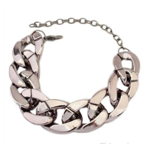 20mm wide High Quality Plastic Never Fades curb chain Bracelet Gold Silver Grey