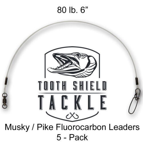 "5 Pack 80lb 6/"" Musky Fluorocarbon Fishing Leaders Stay-Lok Snap BB Swivel Muskie"