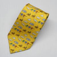 $95 Olimpo Tie Yellow Arctic Theme W/ Eskimos, Bears And Reindeers 100% Silk