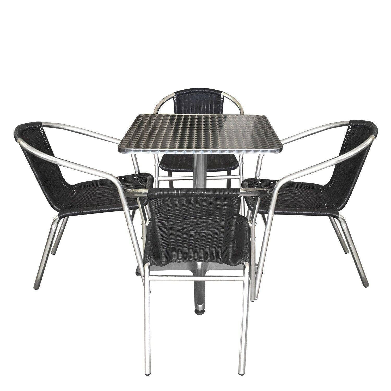 Gartenmöbel Set Bistrogarnitur Sitzgruppe Aluminium 60x60cm +4x Alu Bistrostuhl