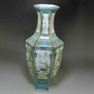 Chinese old porcelain Enamel Hexagonal Zodiac Vase