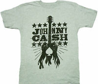 Johnny Cash Woodcut Guitar Adult Shirt - Country Rock And Roll Folk Gospel Music