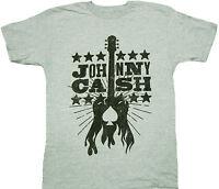 Johnny Cash Woodcut Guitar Adult Shirt - Country Rock And Roll Folk Gospel Music