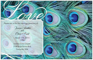 50-100-Peacock-FEATHER-5X7-WEDDING-Personalized-Invitations-BLUE-Custom