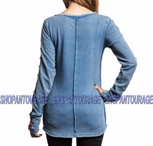 AFFLICTION Witney AW13671 New Women`s Long Sleeve Fashion Navy Thermal Top