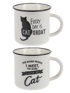 Details about  /Ganz E8 Kitchen Dining B/&W Pet Lover 14oz 4in Stoneware Mug Cat EM55114 Choose
