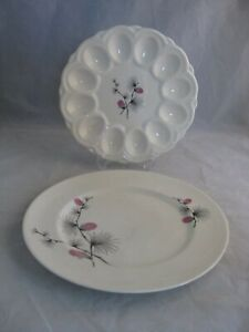 Vintage-Canonsburg-Pottery-Wild-Clover-Egg-Plate-amp-Dinner-Plate-Dishes