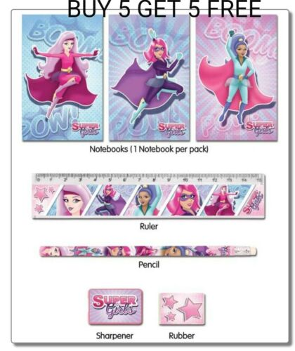 5 Fun Stationery Sets Super Girl Character Kids Party Loot// Party Bag Fillers