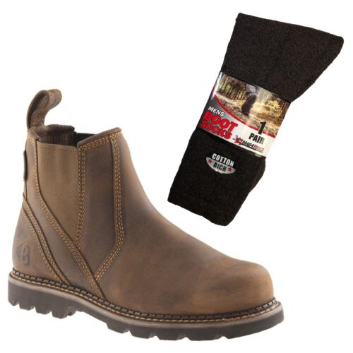 Buckler B1500 Non Safety Dealer Boots Brown Sizes 6-13 /& 1 Pair of Socks