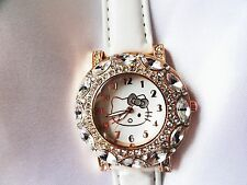 Big Face Hello Kitty White Big Rhinestones Watch Women's Girl