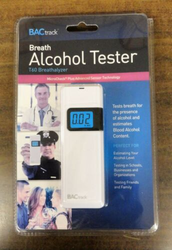 BACTRACK BREATH ALCOHOL TESTER T60 BREATHALYZER 0.00-0.40/% BAC TESTING RANGE