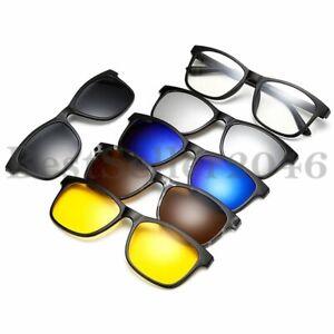 5-STUCKE-Clip-on-Sonnenbrille-Polarisierte-Magnetische-Linse-Nachtsichtbrille