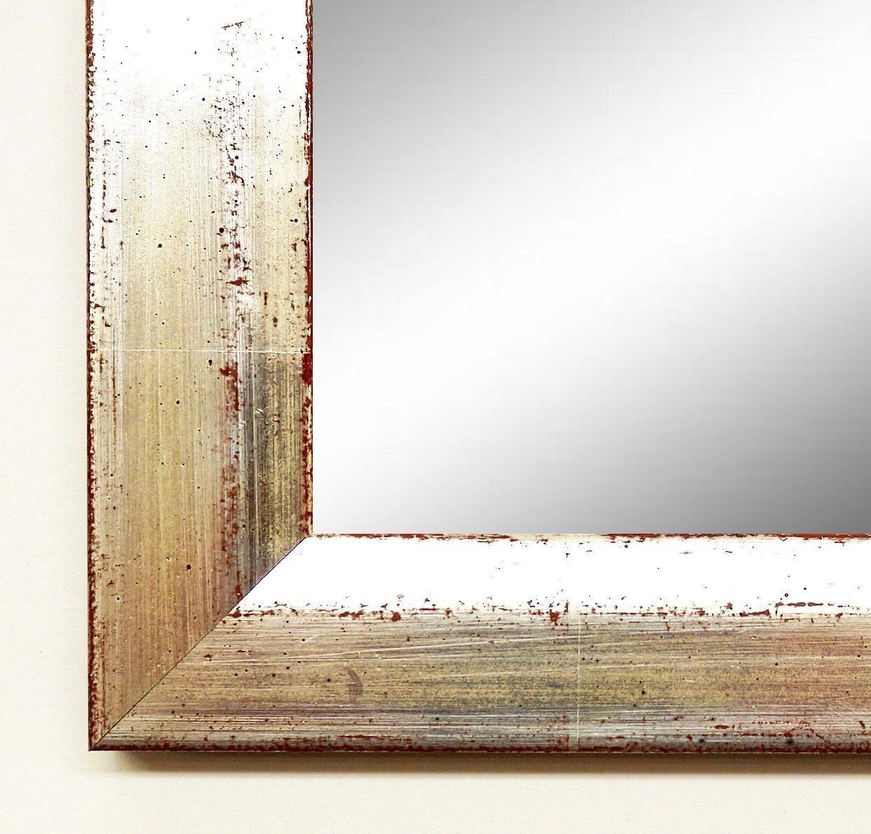 Spiegel Wandspiegel Badspiegel Haßfurt in Antikechtsilber, rot unterlegt 30,0