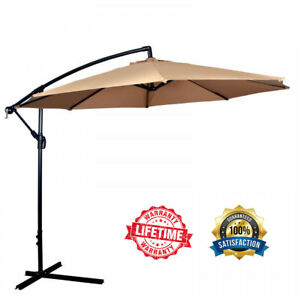 Image Is Loading New Tan Patio Umbrella Offset 10 039 Hanging