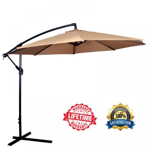 New Tan Patio Umbrella Offset 10/' Hanging Umbrella Outdoor Market Umbrella