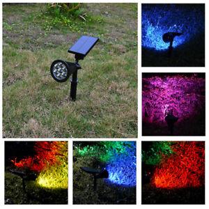 7 Farbe Led Solarstrahler Spotlight Solar Leuchte Solarlampe Garten