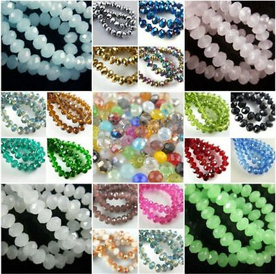 Loose 30Pcs Faceted Glass Crystal Beads Spacer Rondelle Findings 12x8mm