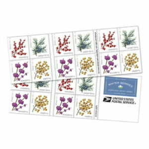 2019 5418b Winter Berries Complete Booklet of 20 Forever Stamps 5415-5418