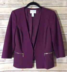 White-House-Black-Market-Women-039-s-Purple-Plum-3-4-Sleeve-Blazer-Size-8