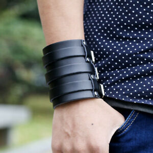 Men-Adjustable-Punk-Wide-Genuine-Leather-Belt-Wristband-Cuff-Bracelet-Fashion