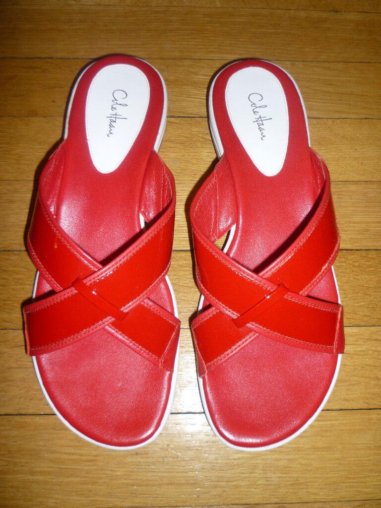 NIB  COLE HAAN Solana Slides Sandals in Cherry Red, 11M