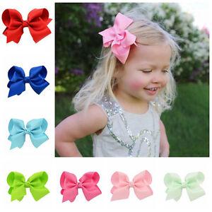 4 Bow Baby Girls Hair Bow Clip Slide Grip Hairpins Grosgrain