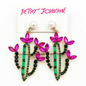 Women-039-s-Pearl-Crystal-Saguaro-Cactus-Earbob-Dangle-Betsey-Johnson-Earrings-Gift